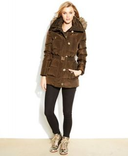 MICHAEL Michael Kors Hooded Faux Fur Trim Quilted Belted Puffer Coat