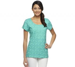 Isaac Mizrahi Live Short Sleeve Embroidered Top —