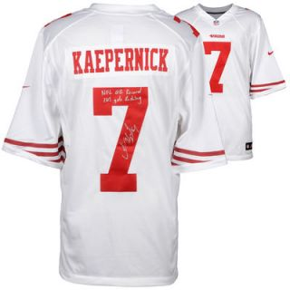 Colin Kaepernick San Francisco 49ers  Authentic Autographed White Nike Jersey with NFL QB Record 181 Yds Rushing Inscription