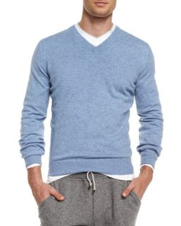 Brunello Cucinelli Cashmere V Neck Sweater, Blue
