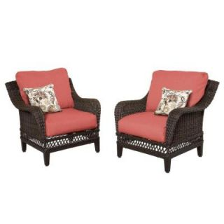 Hampton Bay Woodbury Patio Lounge Chair with Chili Cushion (2 Pack) DY9127 L R