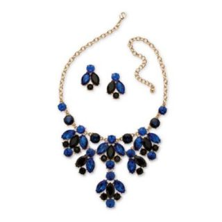 PalmBeach Goldtone Bold Fashion Blue Crystal Jewelry Set