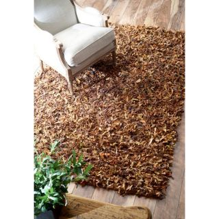 nuLOOM Leather Shag Dark Brown Area Rug