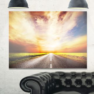 Wet After Rain Road at Sunset   Extra Large Glossy Metal Wall Art