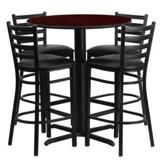 24 inch Round Black Laminate Table Set with Four (4) Black Vinyl Seat