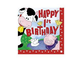 Farm Friends Barnyard 1St Birthday Luncheon Napkins (16 Pack)   Party Supplies