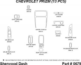 1998, 1999 Chevy Prizm Wood Dash Kits   Sherwood Innovations 0679 CF   Sherwood Innovations Dash Kits