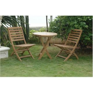 Anderson Teak AT CHF 108 AT TBF 027R Bahama 27 Round Bistro Folding Table Set with 2 Andrew Folding Chairs