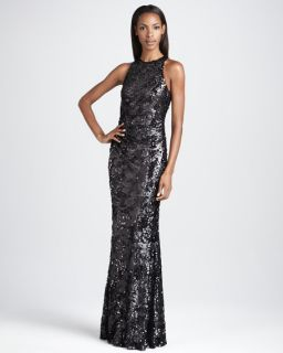David Meister Sleeveless Sequined Gown