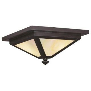 Livex Lighting Providence Collection 2 Light 6.0 in. Outdoor Bronze Iridescent Tiffany Glass Flush Mount 2147 07