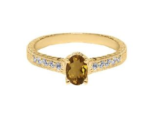 0.92 Ct Oval Champagne Quartz White Sapphire 14K Yellow Gold Engagement Ring