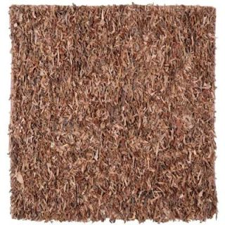 Safavieh Leather Shag Brown 8 ft. x 8 ft. Square Area Rug LSG511K 8SQ