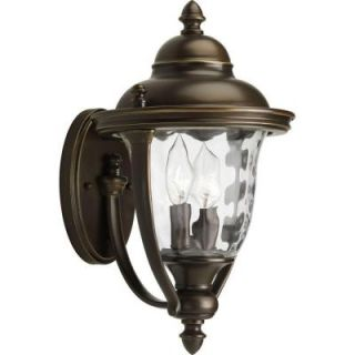Hampton Bay Mission Style Black with Bronze Outdoor Highlight Wall Lantern with Built In Electrical Outlet (GFCI) 30264