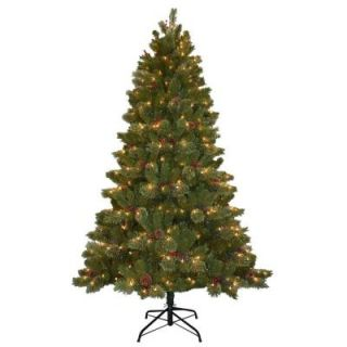 National Tree Company 7.5 ft. Cashmere Cone and Berry Decorated Artificial Christmas Tree with 550 Clear Lights CCB19 75LO