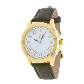 Xtreme Mens Gold Case and Silver Dial / Green Leather Strap Watch