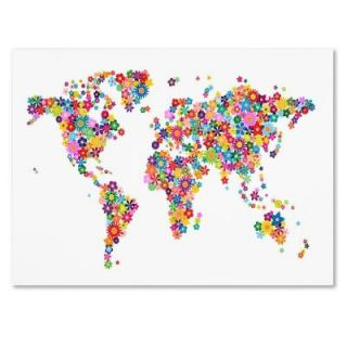 "Trademark Fine Art 30 in. x 47 in. ""Flowers World Map 2"" Canvas Art MT0206 C3047GG"